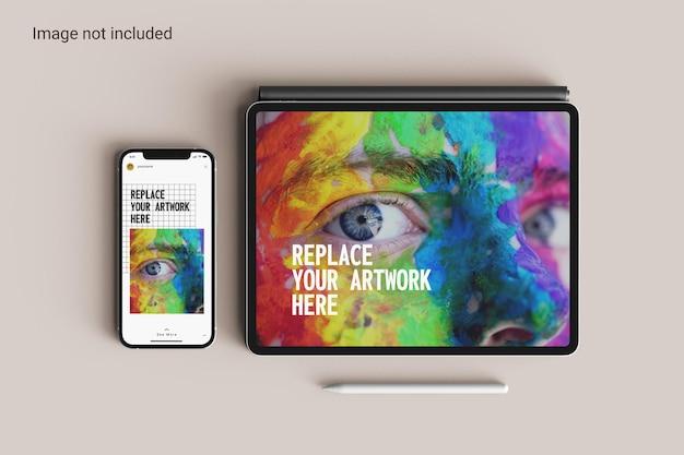 Tablet-bildschirm mit smartphone-mockup-draufsicht