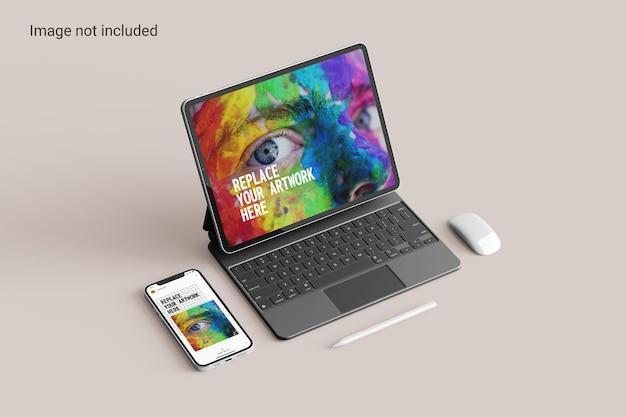 Tablet-bildschirm mit smartphone-mockup-perspektivansicht