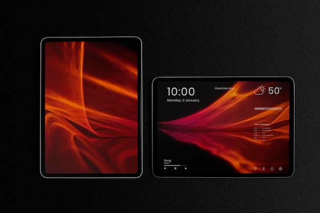 Tablet-bildschirm-mockup-psd in vertikaler und horizontaler form