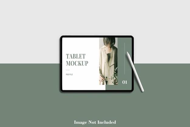 Tablet-bildschirmmodell im querformat mit bleistift premium psd