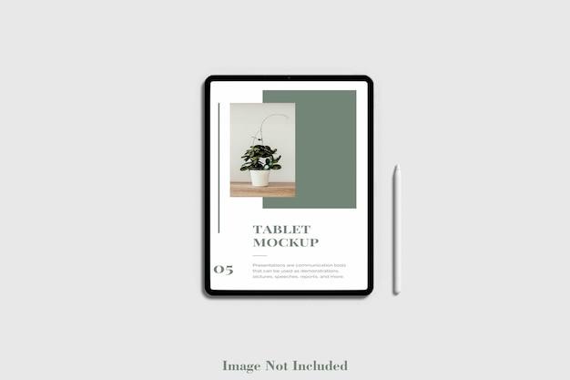 Tablet-bildschirmmodell mit bleistift premium psd