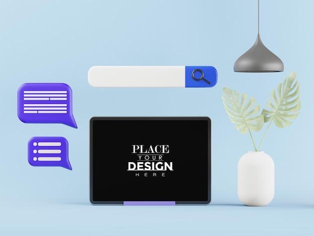Tablet-computer auf dem tisch mockup