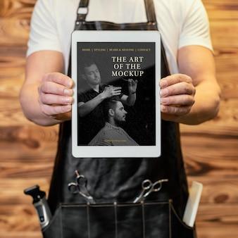 Tablet-mock-up für friseursalon