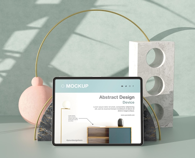 Tablet-mock-up-komposition mit stein- und metallelementen