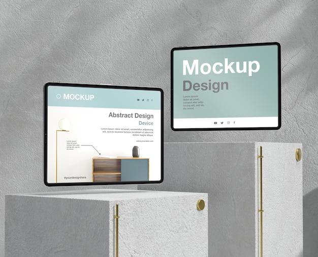 Tablet-mock-up-sortiment mit stein- und metallelementen