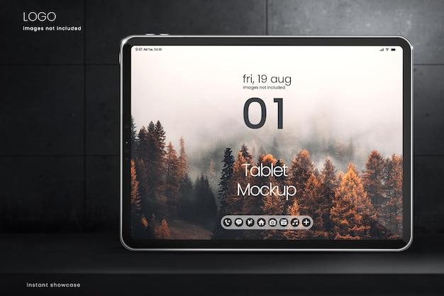 Tablet mockup für social media und webdesign auf dunklem hintergrund
