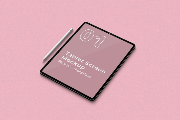 Tablet screen mockup und pencil rechtwinklige ansicht
