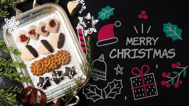 Tablett mit snacks für weihnachtsmodell