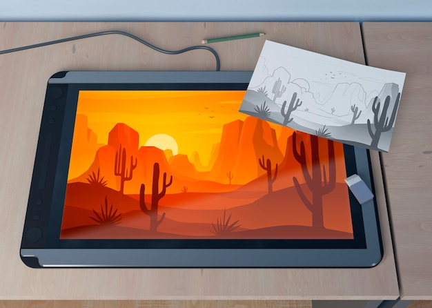 Tablette mit landschafts- und blattskizze