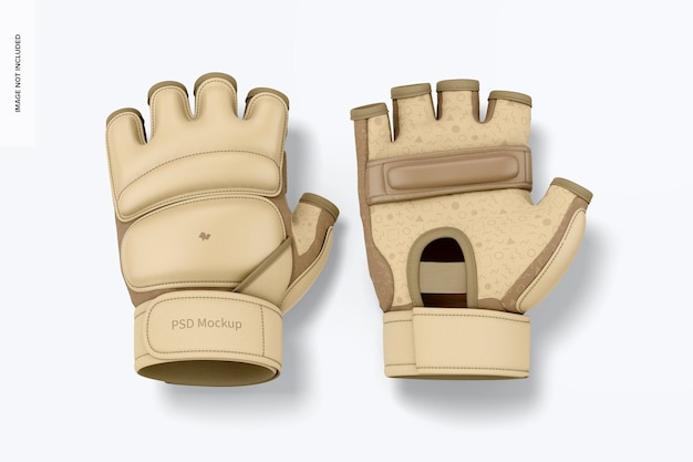 Taekwondo-handschuhe mockup, ansicht von oben