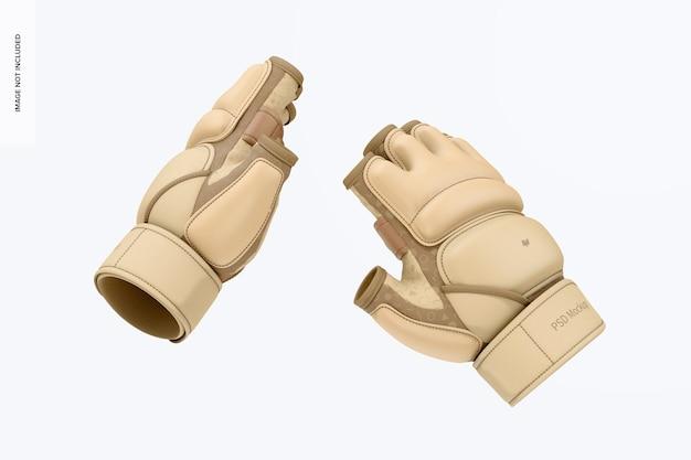 Taekwondo-handschuhe mockup, schwimmend
