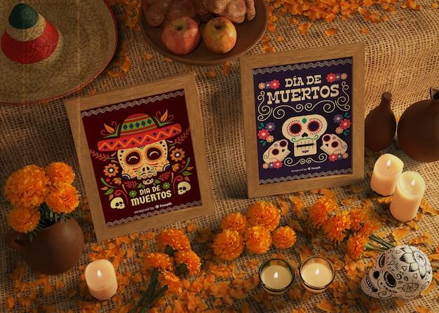 Tag der hohen ansicht von toten traditionellen mexikanischen modellen