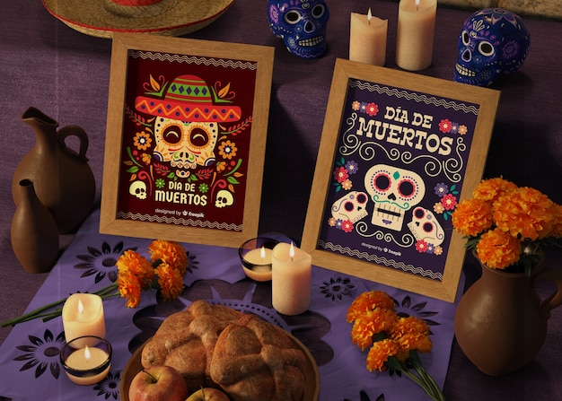 Tag der toten traditionellen mexikanischen modelle mit blumen