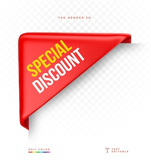 Tag special discount rot 3d-rendering isoliert