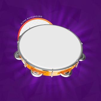Tamburin 3d-render isoliert