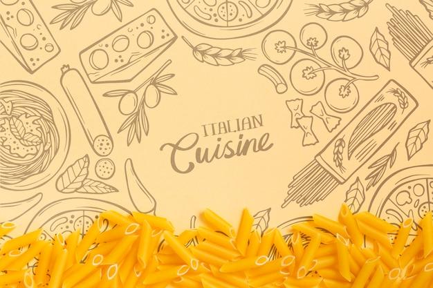 Tapete der italienischen küche mit geschmackvoller teigware