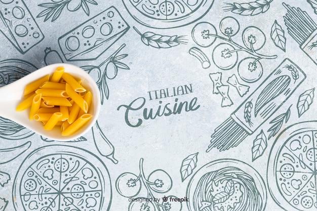 Tapete der italienischen küche mit teigwaren