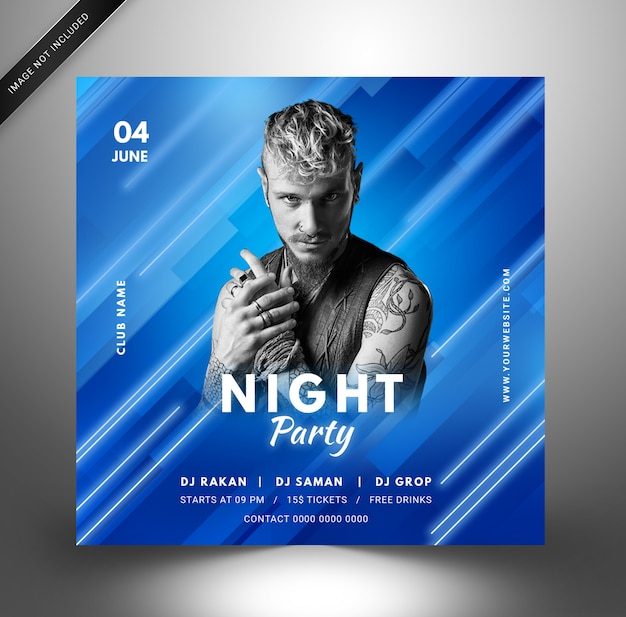 Techno dj musik party vorlage, quadratischer flyer für instagram.