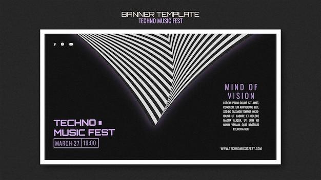 Techno musik fest banner