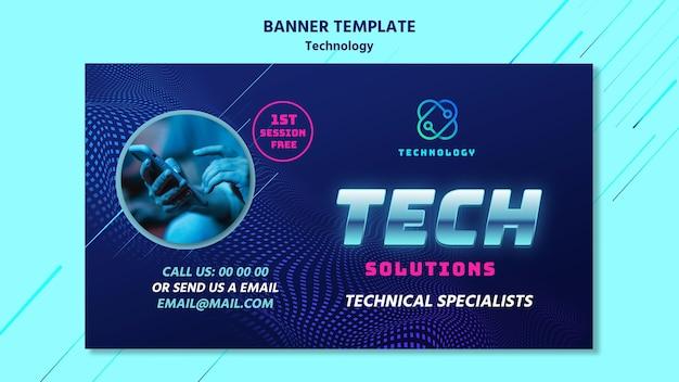 Technologie-banner-vorlage mit foto