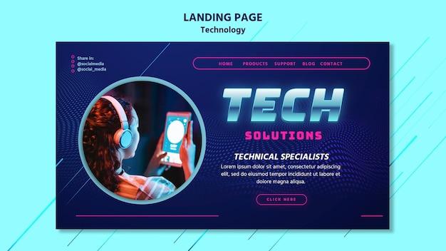 Technologie-landingpage-vorlage mit foto