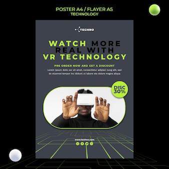 Technologie mit vr brille flyer vorlage