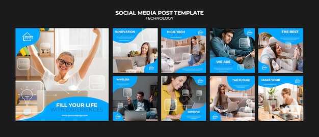 Technologie social media post vorlage Premium PSD