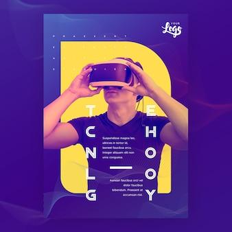 Technologiemann, der gläser der virtuellen realität verwendet