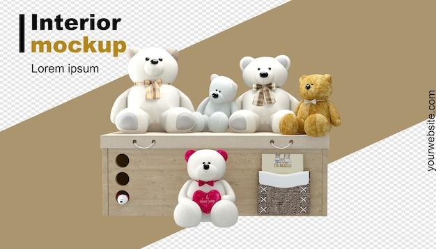 Teddybär-modell im 3d-rendering
