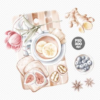 Tee mit zitrone, keksen und brot handgezeichnete clipart