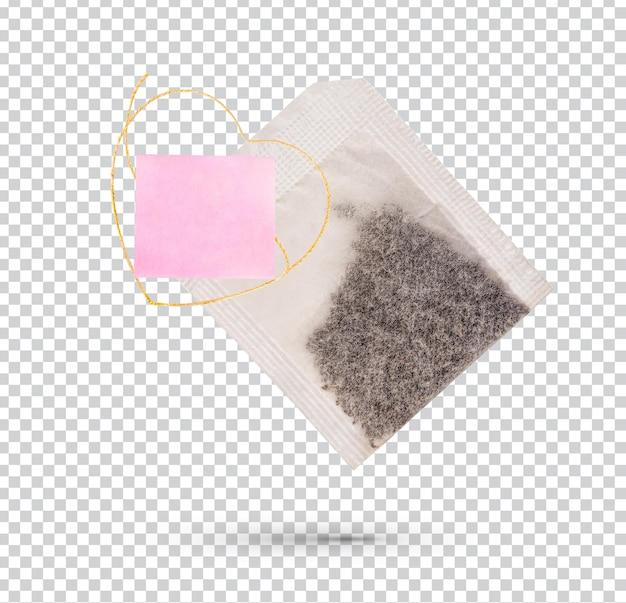 Teebeutel mit weißem etikett isoliert premium psd