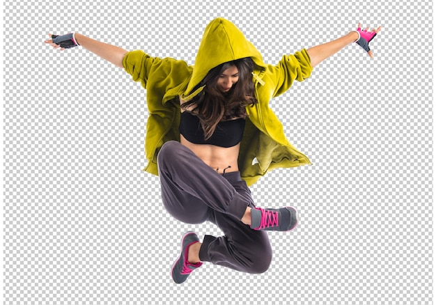 Teenager-mädchen tanzen hip hop