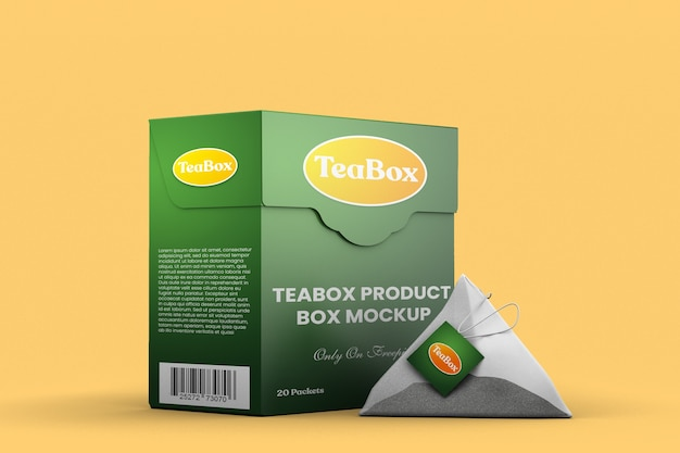 Teeprodukt-markenboxmodell mit teebeutel