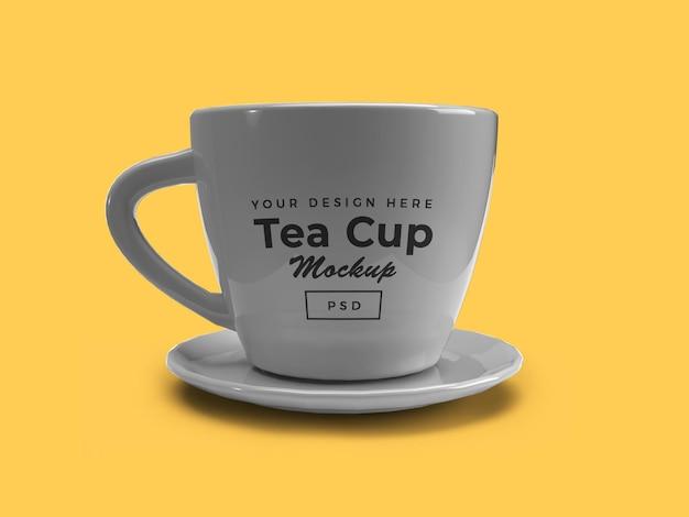 Teetasse auf platte 3d mockup isolated design