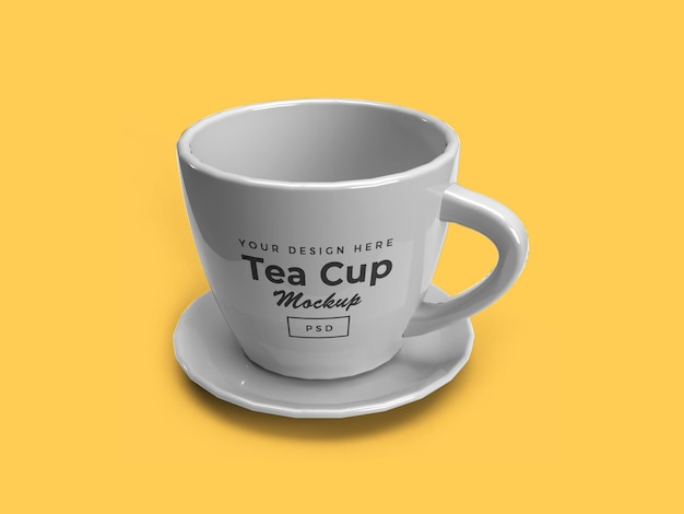 Teetasse auf platte 3d mockup isolated design