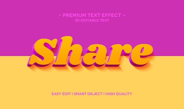 Teilen sie die 3d-textstil-effektvorlage