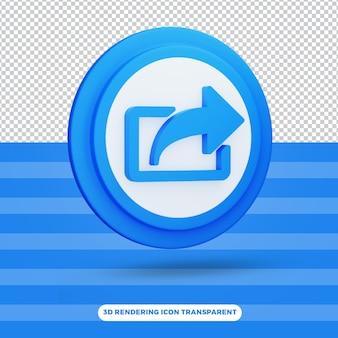 Teilen sie hochwertiges symbol 3d-symbol rendern