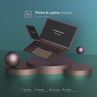 Telefon und laptop schweben in einem abstrakten szenenmodell