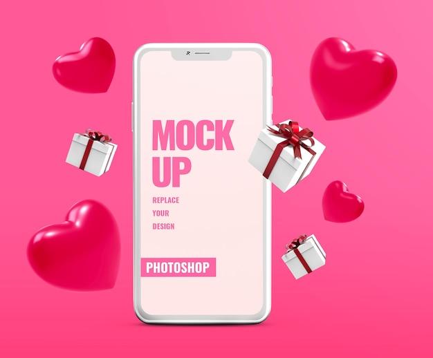 Telefon valentinstag mit geschenkbox modell