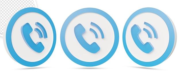Telefonanrufsymbol isoliert im 3d-rendering-design