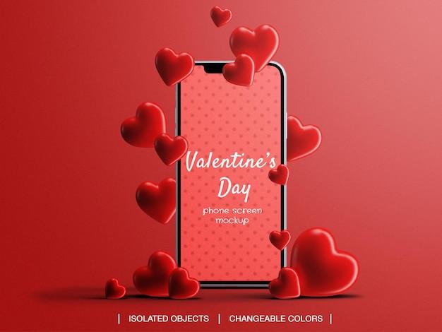 Telefonbildschirmmodell für valentinstagkonzept mit isolierten herzen