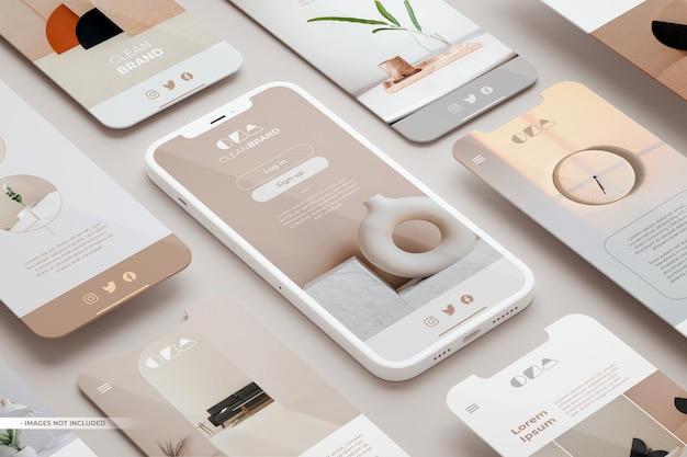 Telefonbildschirmmodell und verschiedene folien, die in 3d-rendering schweben. elegante app-oberfläche