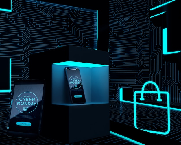 Telefone eingestellt nahe bei neoneinkaufstasche