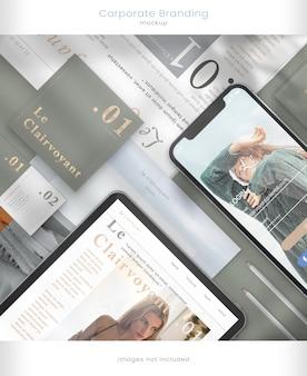 Telefonmodell, tablet-modell und unternehmensbranding mit blattschatten-overlays