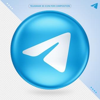 Telegramm 3d app icone randering