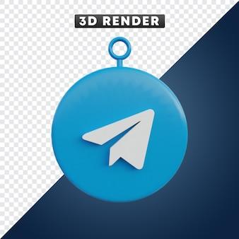 Telegramm-social-media-symbol 3d-objekt