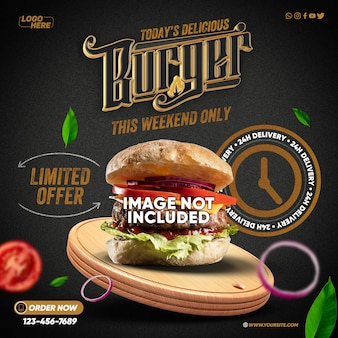 Template social medias leckerer hamburger heute nur dieses wochenende mit 24h lieferung