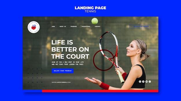 Tennis konzept landing page vorlage