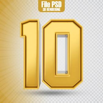 Text 10 gold 3d-rendering-banner