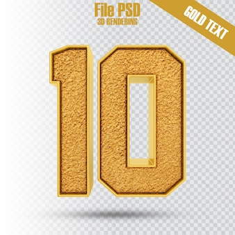 Text 10 gold 3d-rendering